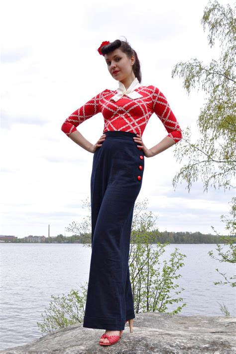 40s swing 40 s style swing trousers pants dark blue by cherisedesign