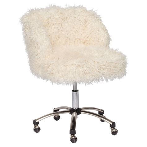 fuzzy white desk chair living livelier look for less sheep upholstery