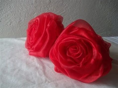 tutorial rose in organza rose tutorial rosas en tela and how to make on pinterest