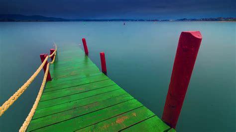 Fond Ecran Paysage Ponton Color 233 Plongeant Dans Lac