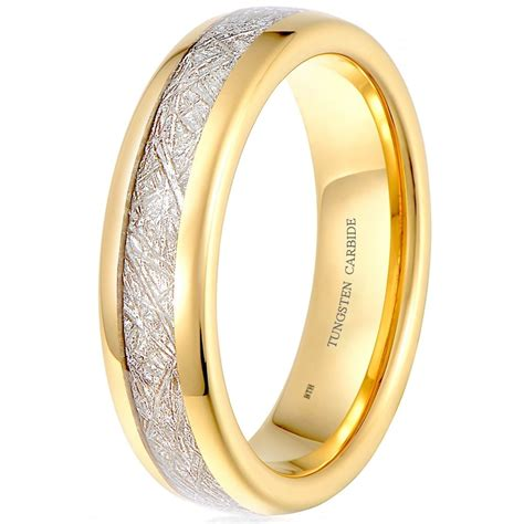 Tungsten Carbide Ring For Classical unisex tungsten carbide meteorite inlay classic wedding engagement ring