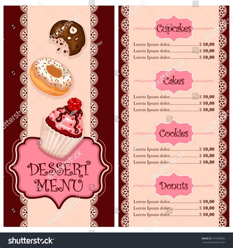 vector menu design for cake house bakery restaurant and