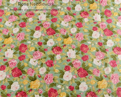 Tg Green Upholstery by 1 Meter Shabby Chic Roses Printed Green 100 Cotton Fabric