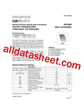 transistor irf460 irf460 datasheet pdf international rectifier