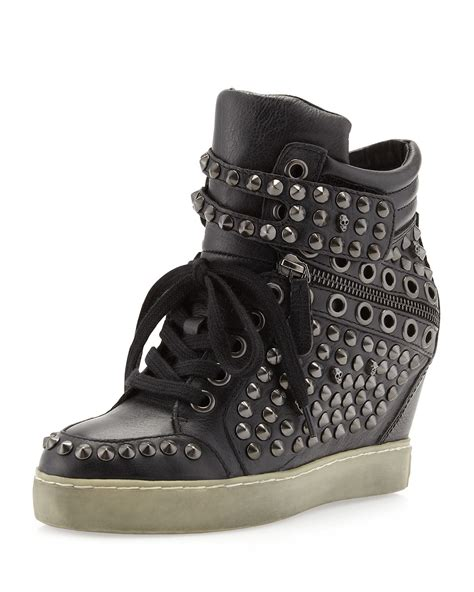 stud wedge sneakers ash blondie studded wedge sneaker black in black 5 lyst