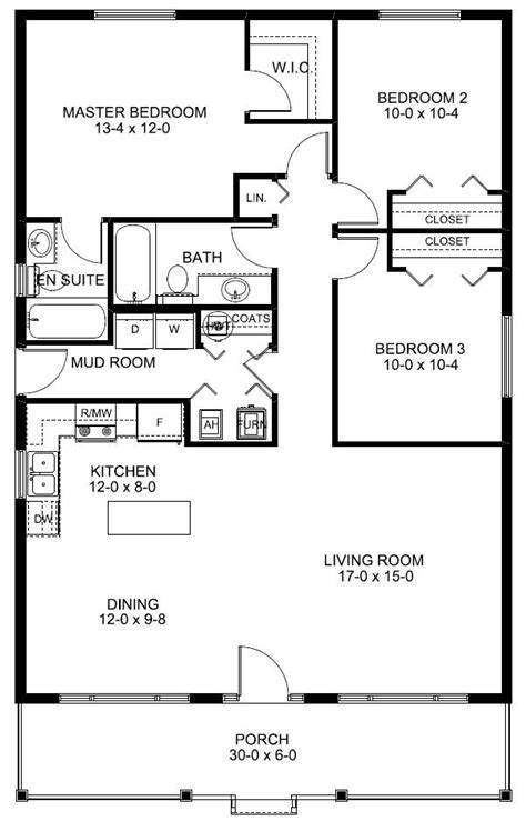 floor plan with plumbing layout 1260 sq ft economical rancher home w front porch hq
