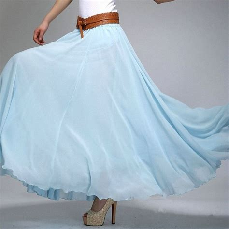 Hem Sabri Blue 4 sky blue chiffon maxi skirt with wide hem light blue chiffon skirt sk2h wedding