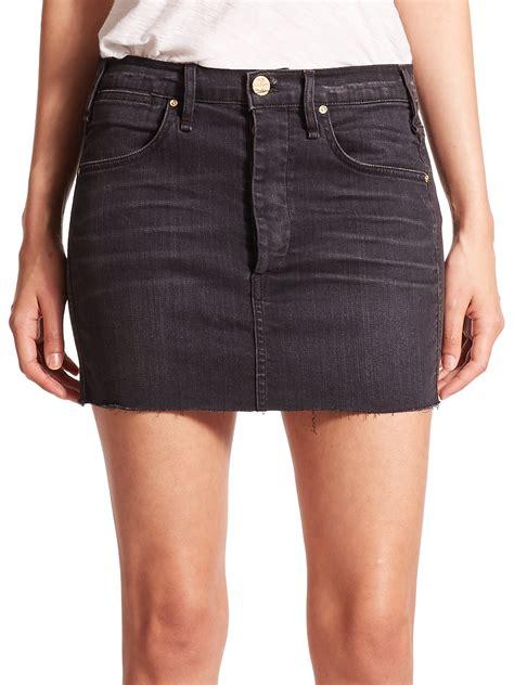 mcguire emile denim mini skirt in gray lyst