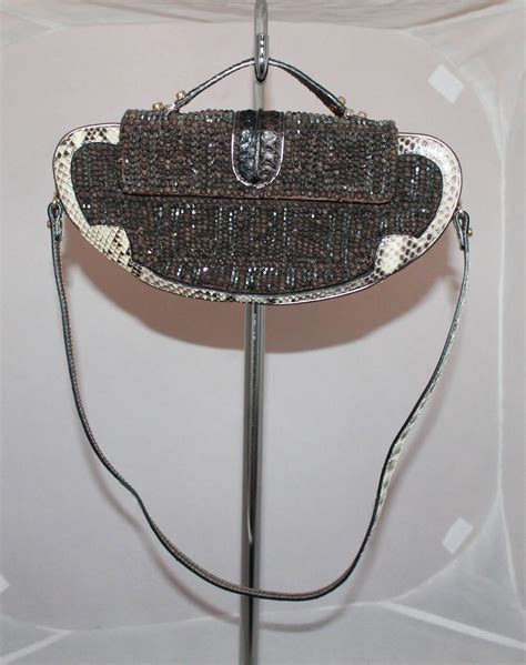 fendi beaded handbag fendi brown beaded handbag with snake and mirror detail