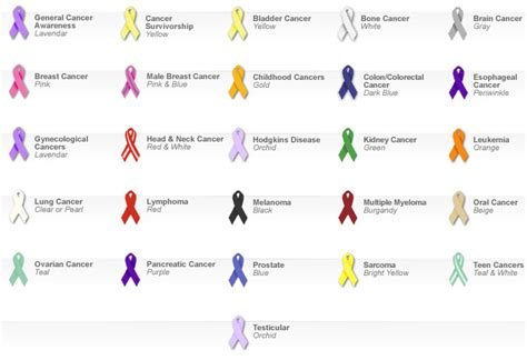 what color is the lung cancer ribbon all cancer awareness ribbon color type of ribbon