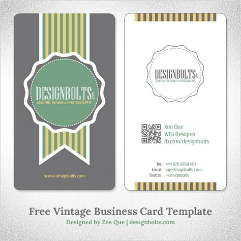 Vintage Business Cards Templates Free by Free Vector Vintage Business Card Template By Designbolts