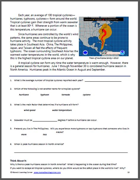 hurricane worksheet answers all about hurricanes resource packet mamas learning corner