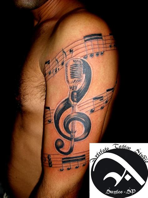 music sleeve tattoo 22 microphone and notes