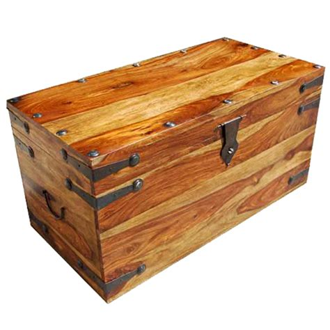 wooden trunk solid wood dallas trunk coffee with wrought iron