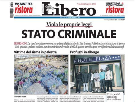 libero quotidiano italia prima pagina libero vittime terremoto palestra