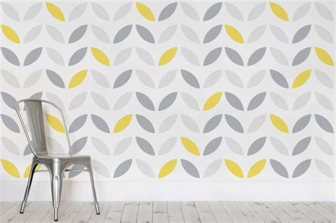 design house skyline yellow motif wallpaper yellow and grey abstract flower pattern wallpaper