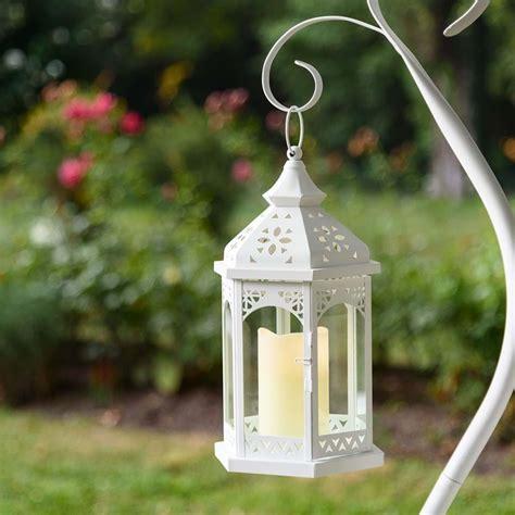 lanterna per candela lanterna esagonale in vetro e metallo bianco h 34 cm con