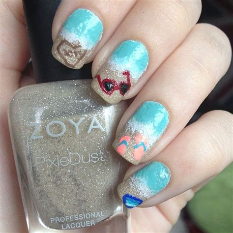 number 1 summer nails beach nails are so cute love the sunglasses nail ideas