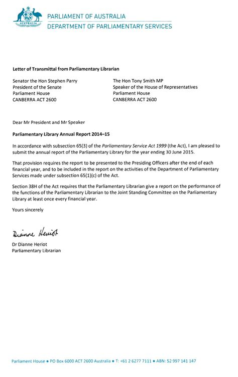 letter of recommendation for a letters of transmittal parliament of australia 1415
