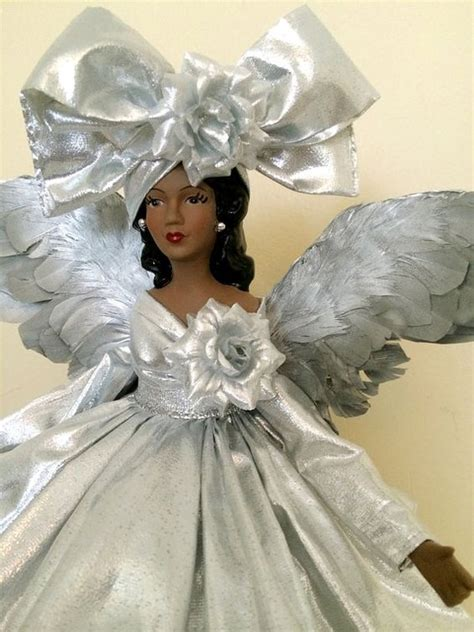 silver christmas angel tree topper african american ooak