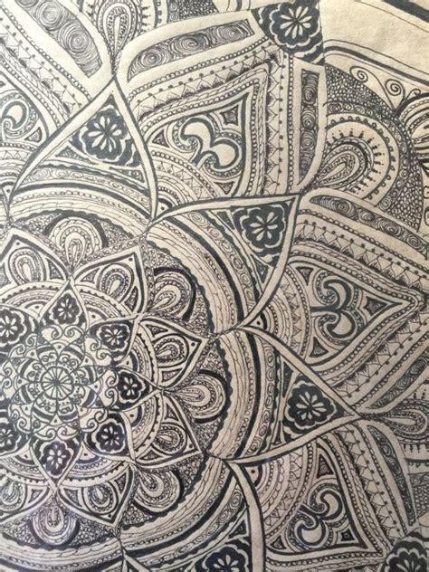 henna tattoo wall art black mandala original ink drawing framed by