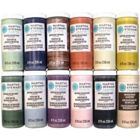martha stewart crafts vintage decor 8 oz 12 color matte chalk finish paint set promo866 the