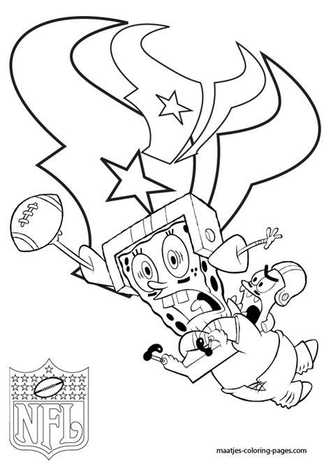 spongebob nfl coloring pages houston texans patrick and spongebob coloring pages