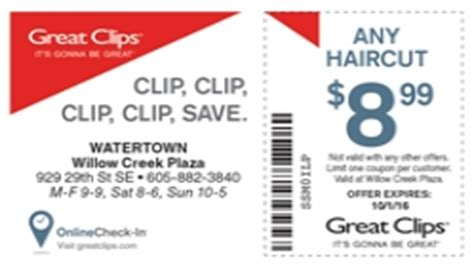 haircut coupons thornton co great clips watertown