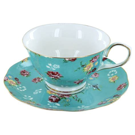 Tea Cup by Shabby Turquoise Porcelain Teacup And Saucer Set