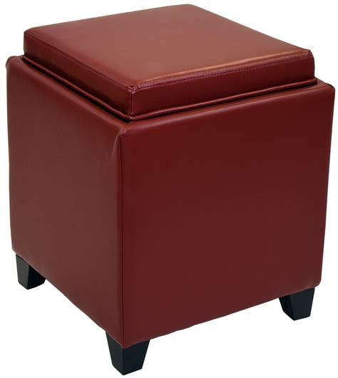 storage ottoman with trays rainbow red bonded leather storage ottoman with tray