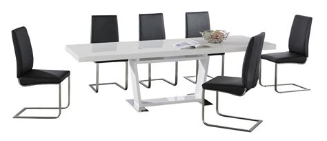 Large White High Gloss Extending Dining Table With 8 Black Black Gloss Extending Dining Table