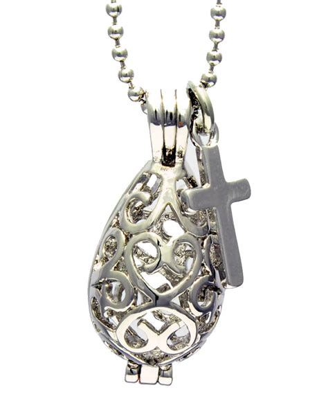 oil diffuser necklace filigree teardrop diffuser necklace with cross charm and 5