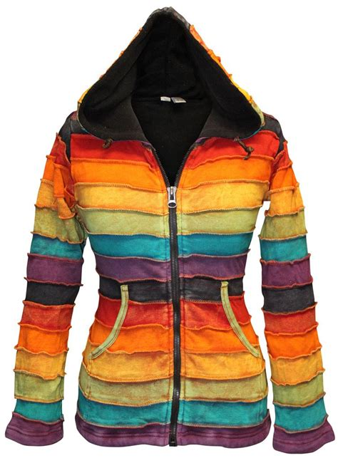 Washed Fleece Lined washed out fleece lined rainbow stripy hippie hoodie