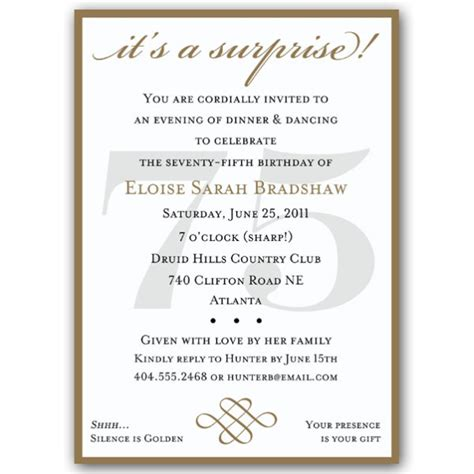 classic 75th birthday red surprise invitations paperstyle