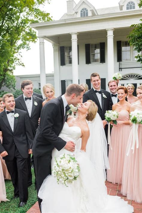 picture of groomsmen in black tuxedos and bridesmaids in - Bridesmaid Dresses And Tuxedos