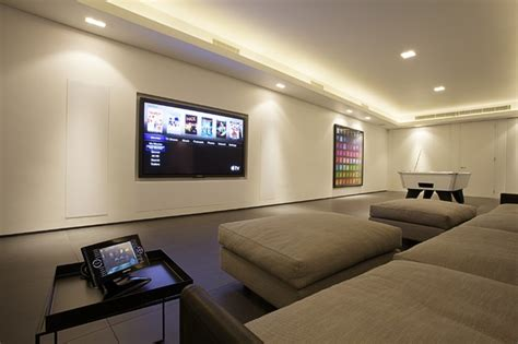 living room surround sound cinema with 85 quot panasonic plasma and hidden surround sound
