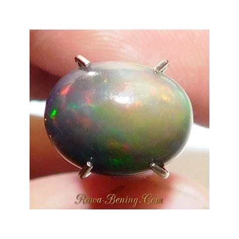 White Opal Kalimaya batu mulia black white opal oval cabochon 1 25 carat
