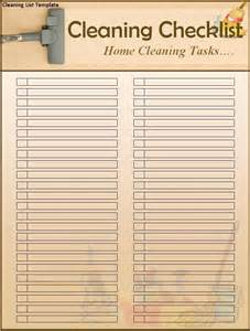 Cleaning Template by Cleaning List Template Word Excel Pdf
