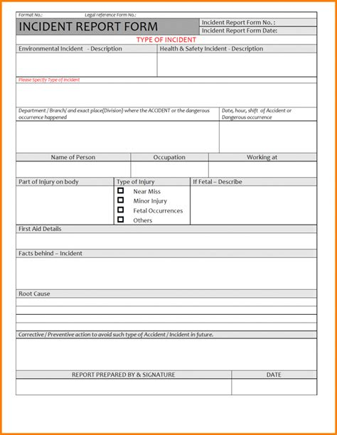 incident report form template word budget template