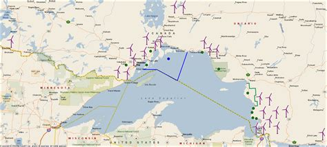 lake superior map 7 600 large onshore wind turbines in ontario wind turbine locations maps lawsuits setbacks