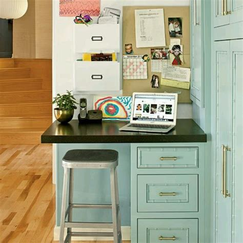 small desk in kitchen mail sorting charging station for