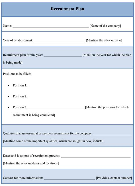 plan template for recruitment template of recruitment