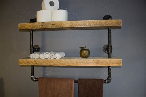 Industrial Pipe Shelf Bathroom Shelves Kitchen By Shelving For Bathrooms