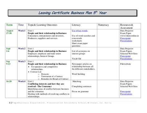 blog layout leaving cert leaving cert business plan 5th 6th year global business