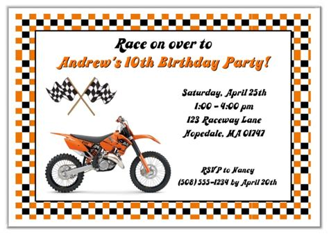 printable birthday cards with motorcycle dirt bike birthday party invitations orange dirt bike