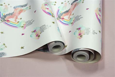 white glitter wallpaper ebay rainbow unicorn girls white glitter childrens wallpaper