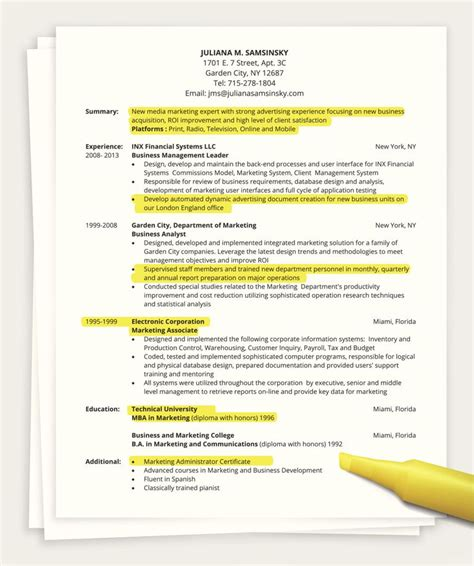 how do i section someone how to write a one page resume
