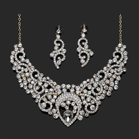 bridal wedding jewelry necklace and earrings sets