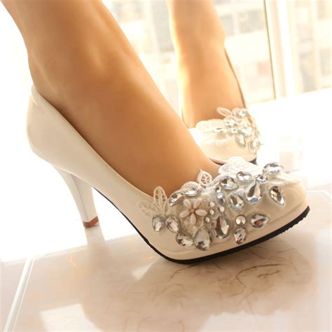 white wedding slippers new style bridesmaid shoes heels white wedding shoes