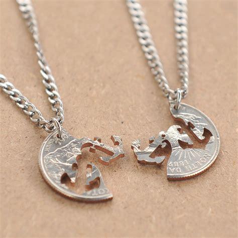 cut coin anchor friendship necklace couples necklaces